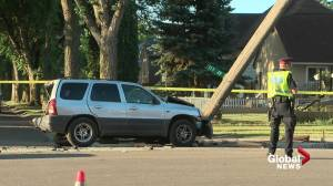 Charges pending after van crashes into 3 other vehicles in central Edmonton (01:41)