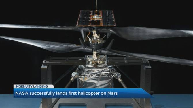 Click to play video: NASA successfully lands first helicopter on Mars