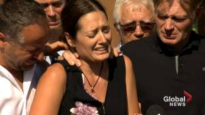 Mother of two deceased young girls in Quebec makes tearful statement at memorial site (02:34)