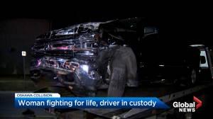 Pedestrian pinned to wall in serious Oshawa crash (01:12)
