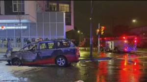 Burnaby RCMP investigate crash and fire involving taxi (00:24)