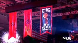 Toronto Raptors unveil championship banner
