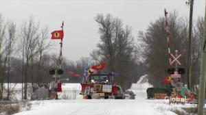 Wet'suwet'en Nation supporters gather at Confederation Bridge
