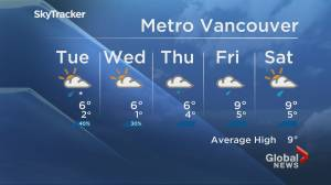 B.C. evening weather forecast: Nov. 9 (02:00)