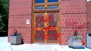 Calgary police investigate after at least 10 churches targeted with red and orange paint (02:43)