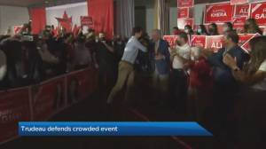 Canada election: Trudeau defends crowded Brampton event, insists rules were followed (01:01)