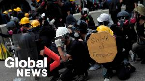 Bricks and tear gas: Violence escalates in Hong Kong's latest clash between protesters and police