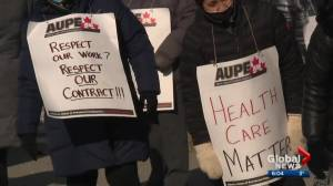 Alberta health-care workers walk off job to protest cuts during pandemic (03:30)