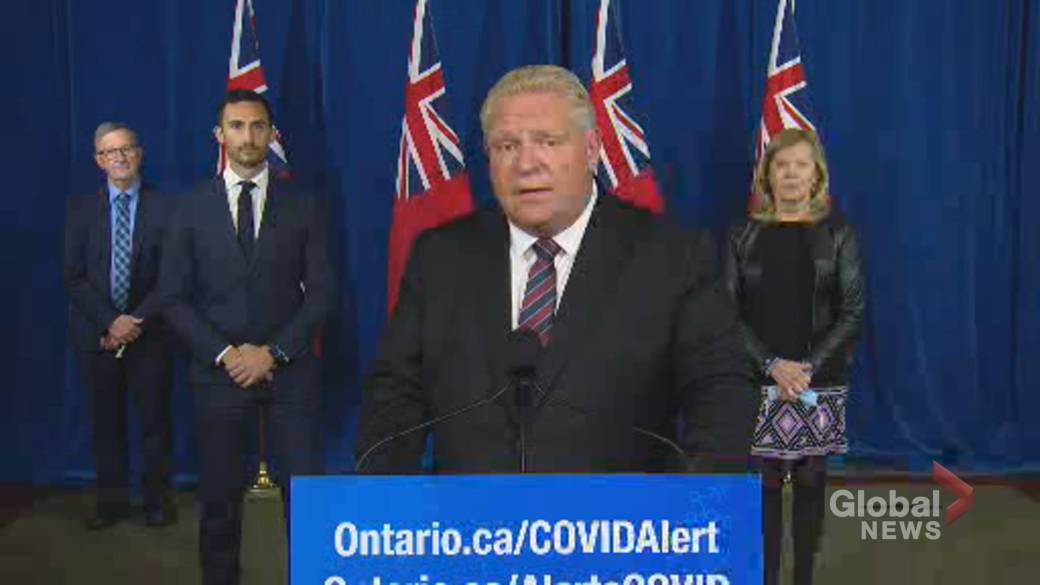 Click to play video 'Coronavirus: Ontario Premier Ford praises province's efforts to keep schools open as cases rise'