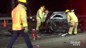 1 injured in collision on Hwy. 7 in Peterborough after car rear-ends flatbed truck (01:21)
