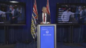 BC Liberal leader releases election platform as polls show party trailing (01:47)