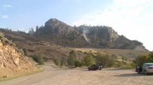 Clerke Road wildfire near Coldstream, B.C., considered held (01:16)