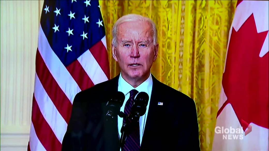 Click to play video 'Biden, Trudeau outline key priorities between U.S., Canada after 1st bilateral meeting'