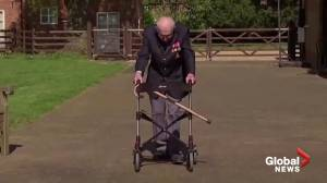Coronavirus: 100-year-old British war vet Sir Tom Moore hospitalized with COVID-19 (01:06)