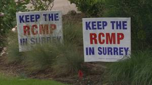 Surrey RCMP support signs removed by city crews