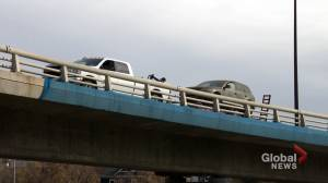 Film crews close Calgary's 4 Avenue flyover and snarl traffic: is it worth it? (02:02)