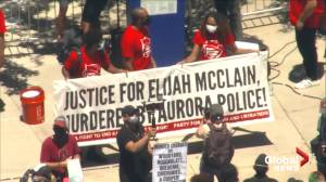 Protesters demand justice for Elijah McClain during demonstrations in Aurora