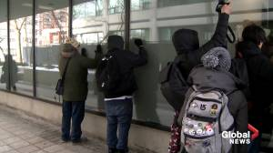 Wet'suwet'en solidarity protesters demonstrate outside Carolyn Bennett's Toronto office