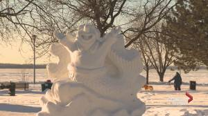 Festive snow sculptures are popping up across Montreal's West Island (01:58)