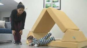 Montreal mom finds modular play couches sold out, teams up with classmates to make her own (01:52)