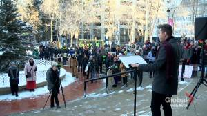 Students protest cuts to post-secondary education in Alberta budget (01:55)