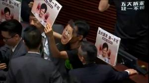 Heckling Hong Kong pro-democracy lawmakers force Lam to cancel annual policy speech