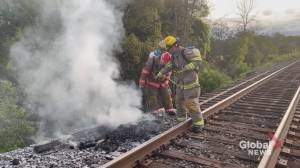 Fire deliberately set along railway tracks near Port Hope (00:35)