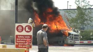 Truck fire at Gardiners Rd & Centennial Drive