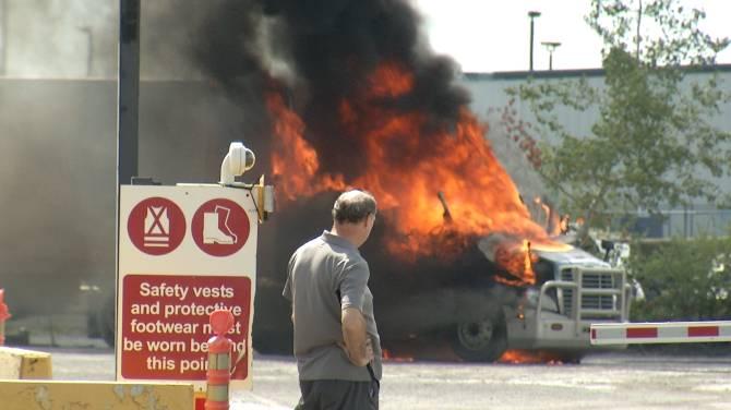 Transport truck fire at SLH Transport