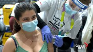 Toronto's Scotiabank Arena hosts massive, record-breaking vaccination clinic (01:58)