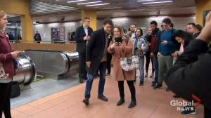 Federal Election 2019: Trudeau greets supporters at Metro station following election win