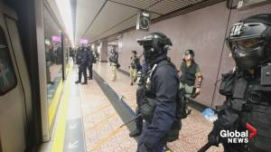 Hong Kong police storm subway train, use pepper spray on protesters