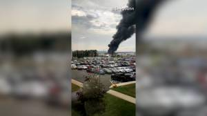 Video shows aftermath of airplane crash in Connecticut