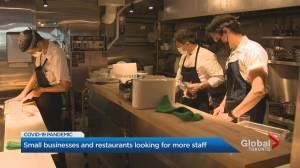 Restaurants and bars having trouble hiring enough staff (01:58)