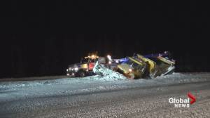 Snowplow slides off the Okanagan Connector amid wintry conditions (00:44)