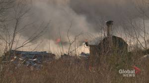Smoke quantity, density dropping as sand smothers New Brunswick tire fire