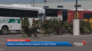COVID-19: Ottawa sending military support to help Ontario (02:50)