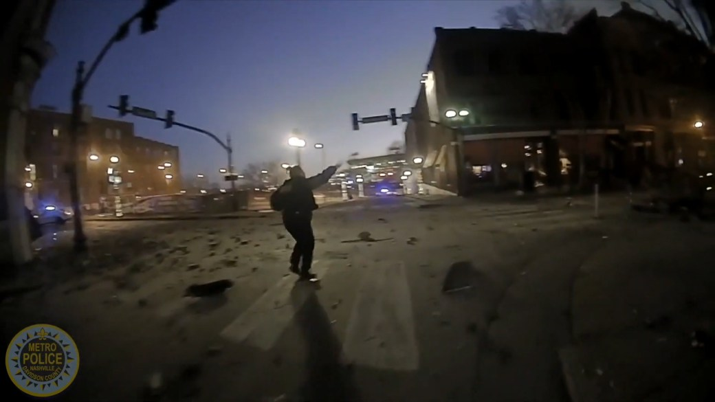 Click to play video 'Nashville explosion: Police release body camera footage showing moments after blast'