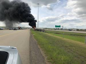 Fiery crash closes portion of Anthony Henday Drive
