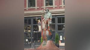 Vancouver's 'Gassy Jack' statue splattered with paint