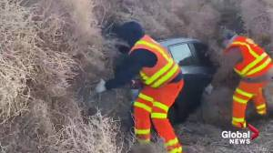 Authorities spend hours digging cars out of a pile of tumbleweeds in Washington State