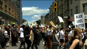 Thousands attend anti racism, anti police brutality march in downtown Montreal