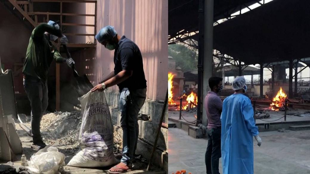 Click to play video: 'Volunteers collect ashes of India's COVID-19 dead as country sees more tragic scenes in hospitals'