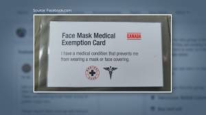 Facebook group linked to fake COVID-19 mask exemption cards (02:13)
