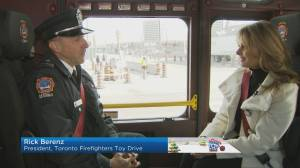 Susan Hay joins Toronto Firefighters on toy drive pickup ride-along