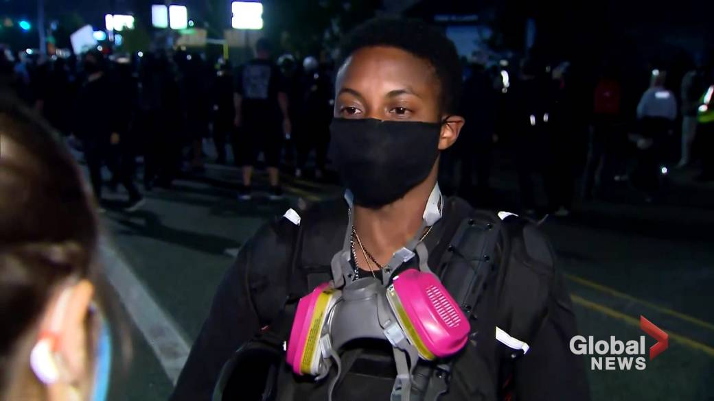 Click to play video ''I understand that they're tired, but at the same time, we're tired of you killing Black people': Portland protester'