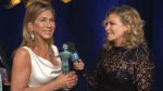 Jennifer Aniston reacts to Brad Pitt watching her acceptance speech