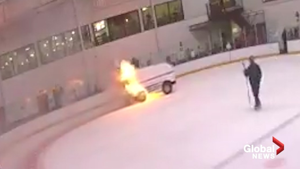 Click to play video 'Ice resurfacer catches fire at ice rink in New York'