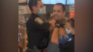 Montreal man arrested for disobeying mandatory mask rule in Tim Hortons (00:59)