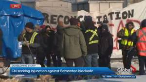 Tensions rise at blockade protest on CN rail line on Edmonton's edge